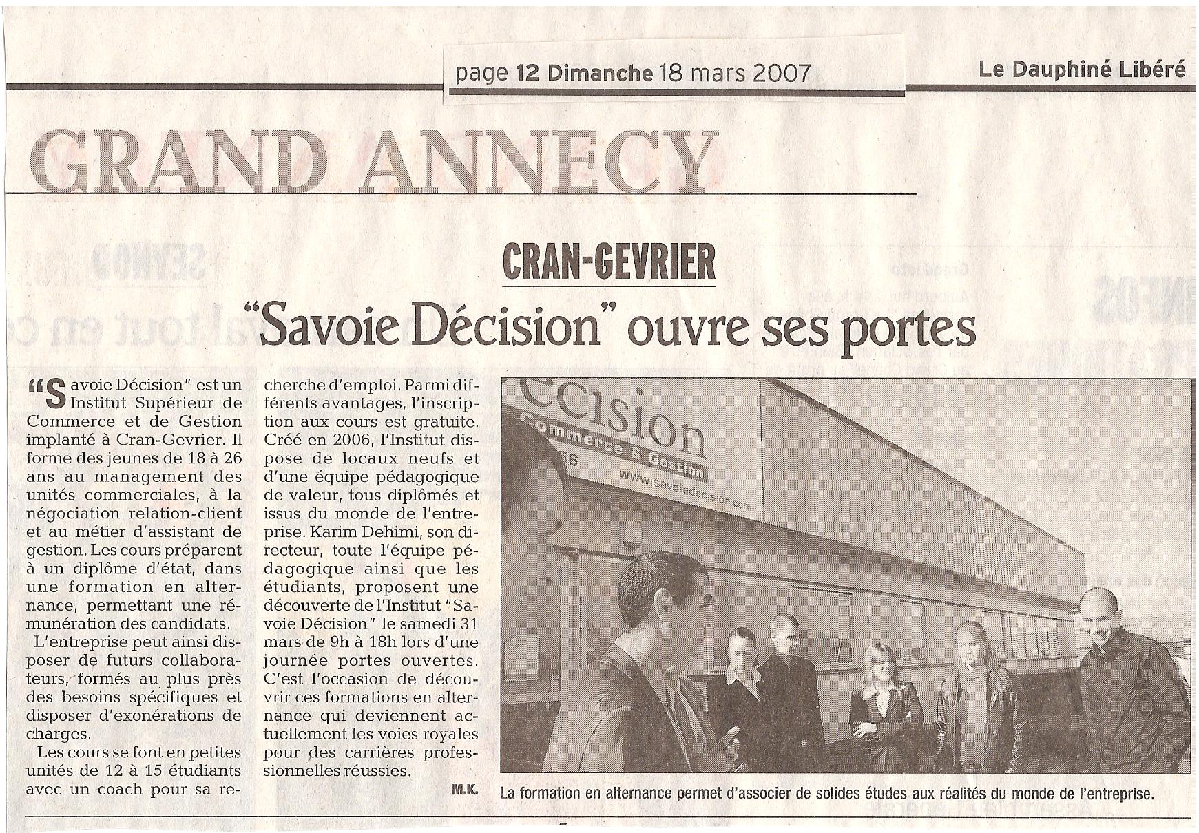 Article du Dauphiné Libéré du Dimanche 18 Mars 2007